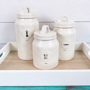 Rae Dunn Icon Canisters- Set of 3 Mix Eat & Roll